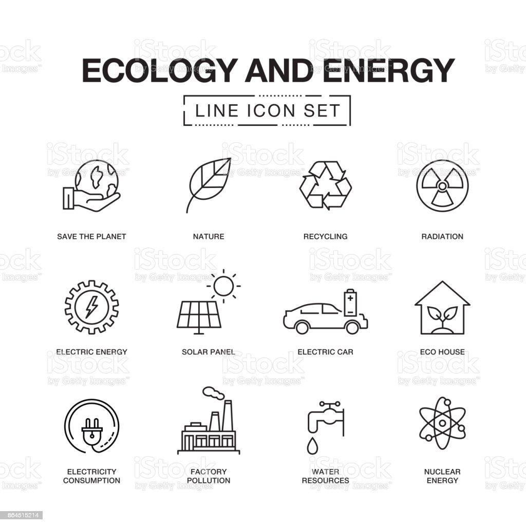 ECOLOGIA E ENERGIA LINHA ÍCONES - ilustração de arte em vetor