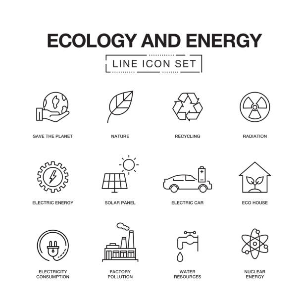 ecology and energy line icons - energy stock illustrations, clip art, cartoons, & icons