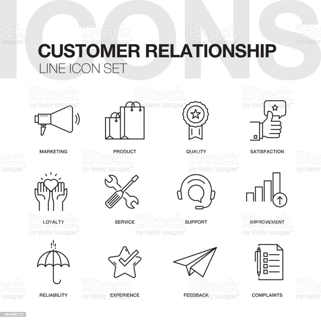 CUSTOMER RELATIONSHIP LINE ICONS vector art illustration