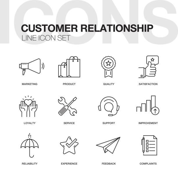 illustrations, cliparts, dessins animés et icônes de icônes de ligne de relation client - centre d'appels