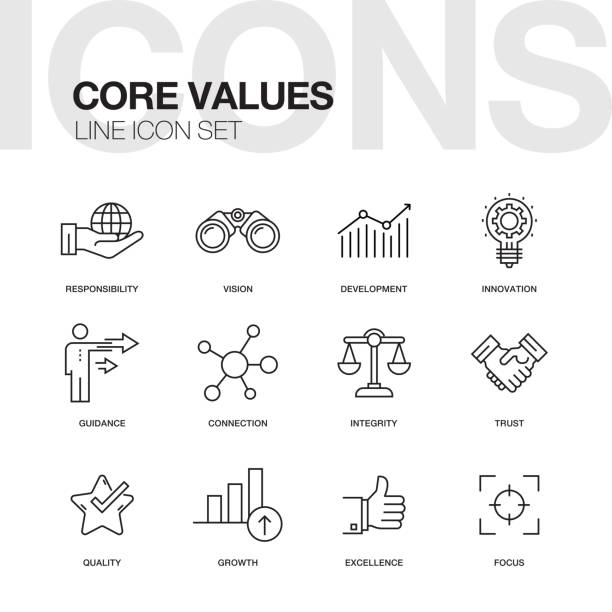 CORE VALUES LINE ICONS vector art illustration