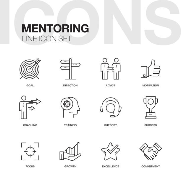 mentoring line icons - opportunity stock illustrations