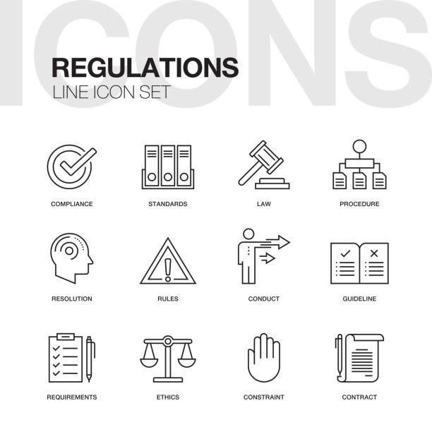 REGULATIONS LINE ICONS vector art illustration