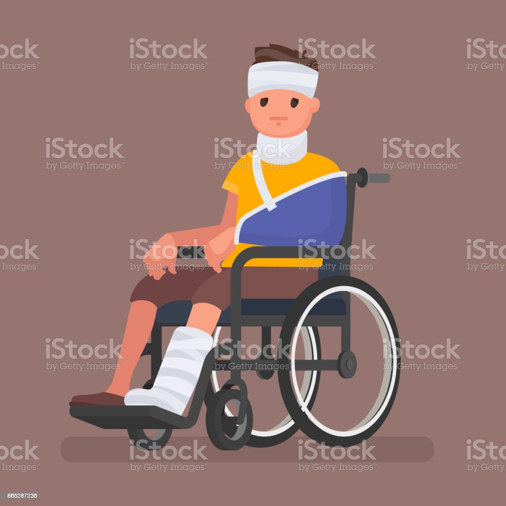 больной на инвалидной каляске vector art illustration