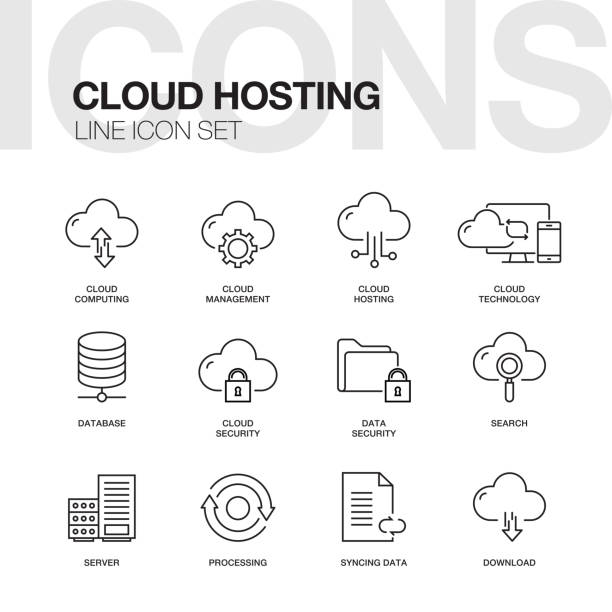 CLOUD HOSTING LINE ICONS vector art illustration