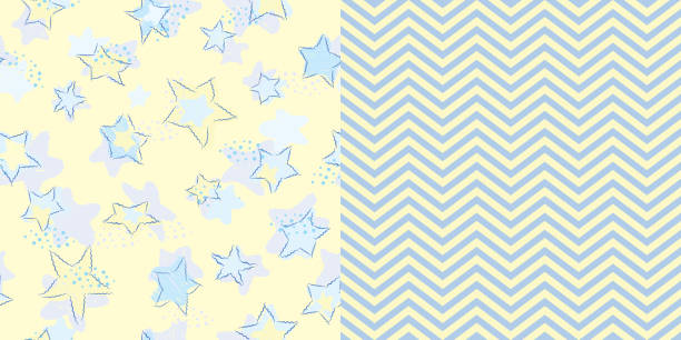 bildbanksillustrationer, clip art samt tecknat material och ikoner med pattern_set_seamless_scribble_stars_and_coordinated_chevron_stripes_yellow_background - hui style