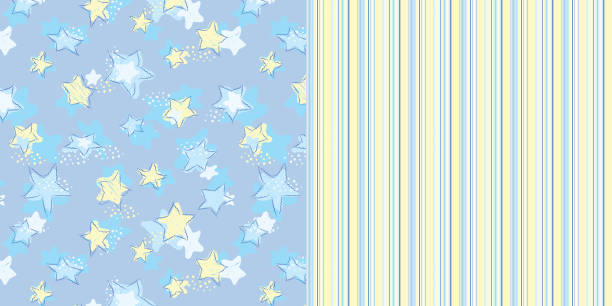bildbanksillustrationer, clip art samt tecknat material och ikoner med pattern_set_seamless_scribble_stars_and_coordinated_stripes_blue_background - hui style