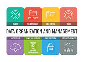 DATA ORGANIZATION AND MANAGEMENT COLORFUL LINE ICONS