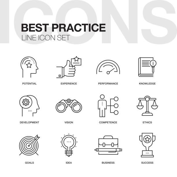 ilustraciones, imágenes clip art, dibujos animados e iconos de stock de conjunto de iconos de línea de mejor práctica - consejero de la escuela