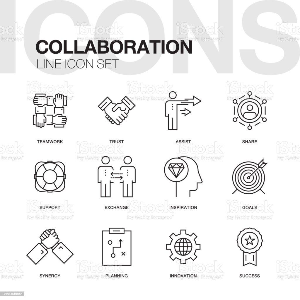 COLLABORATION LINE ICON SET vector art illustration