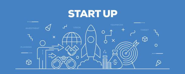 ilustrações, clipart, desenhos animados e ícones de inicie o web banner linha estilo - entrepreneurship