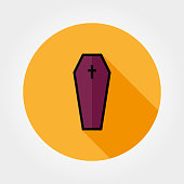 Coffin icon. Halloween. Icon for web and mobile application. Vector illustration on a button with a long shadow. Flat design style.