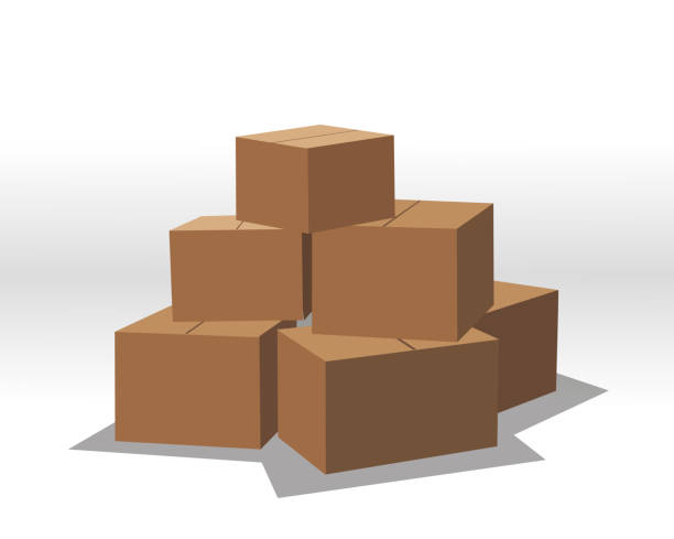 Печать A set of boxes. Boxes are simple, without texture. 3d box. cardboard box stock illustrations