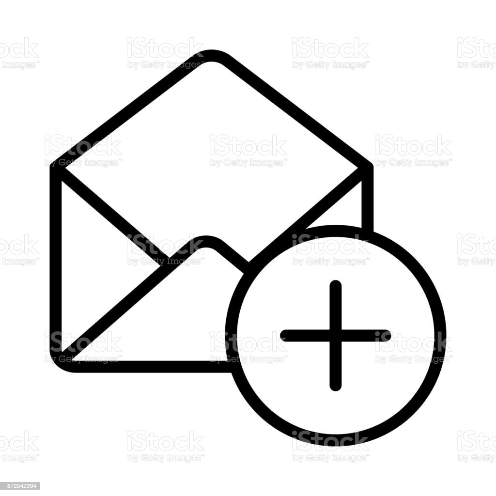 MAIL ADD THIN LINE VECTOR ICON