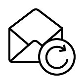 MAIL RELOAD THIN LINE VECTOR ICON