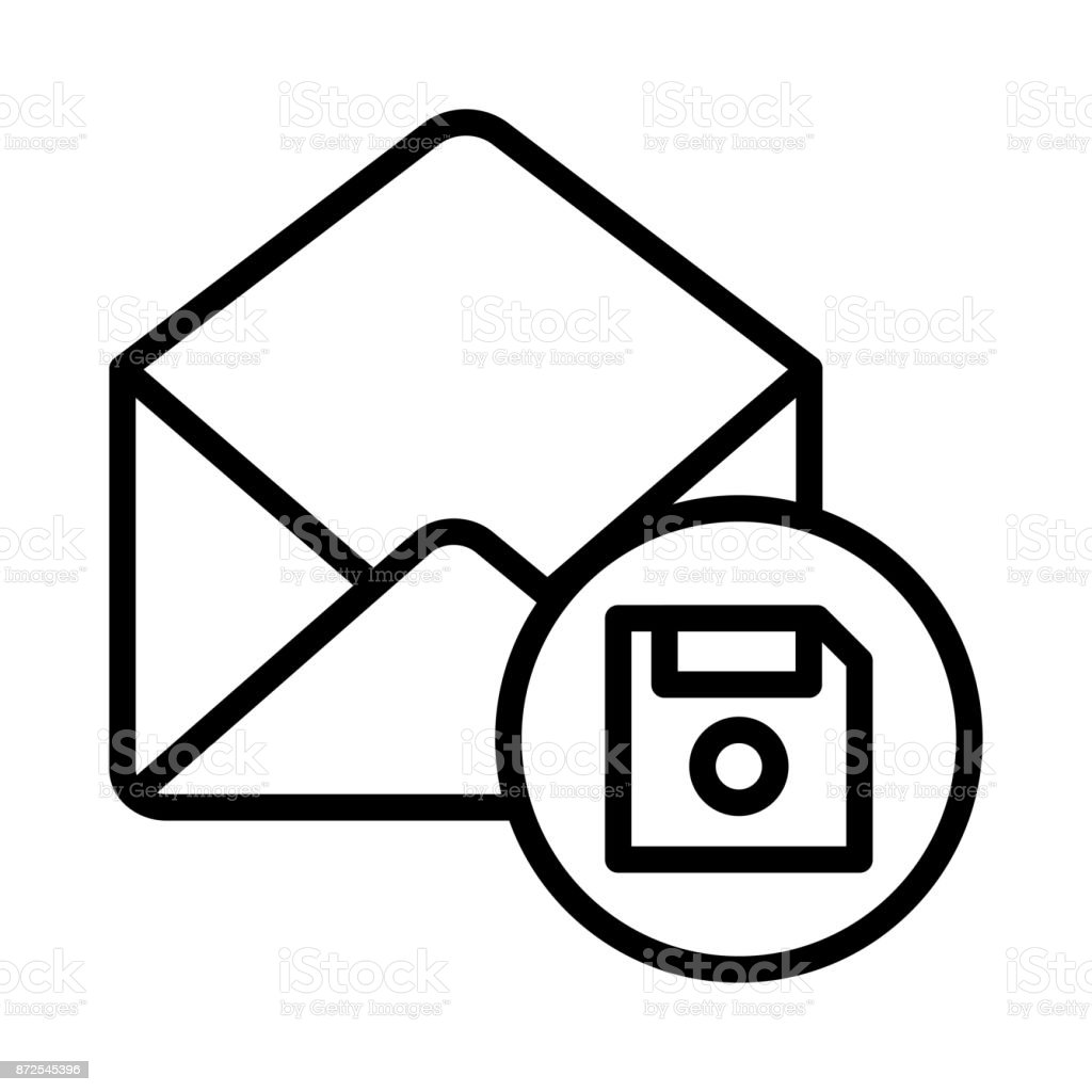 MAIL FLOPPY THIN LINE VECTOR ICON