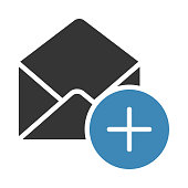 MAIL ADD GLYPHS TWO COLOR VECTOR ICON