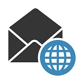 MAIL GLOBE GLYPHS TWO COLOR VECTOR ICON