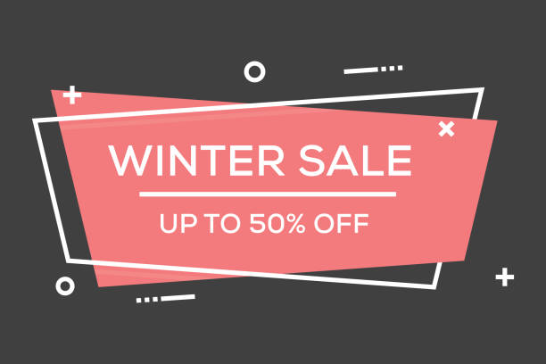 winter sale flat line banner - winter fashion stock illustrations, clip art, cartoons, & icons