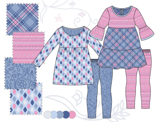 bildbanksillustrationer, clip art samt tecknat material och ikoner med toddler_girl_tiered_dress_leggings_outfit_illustration_floral_plaid_tribal_geometric_patterns_pink_blue - hui style