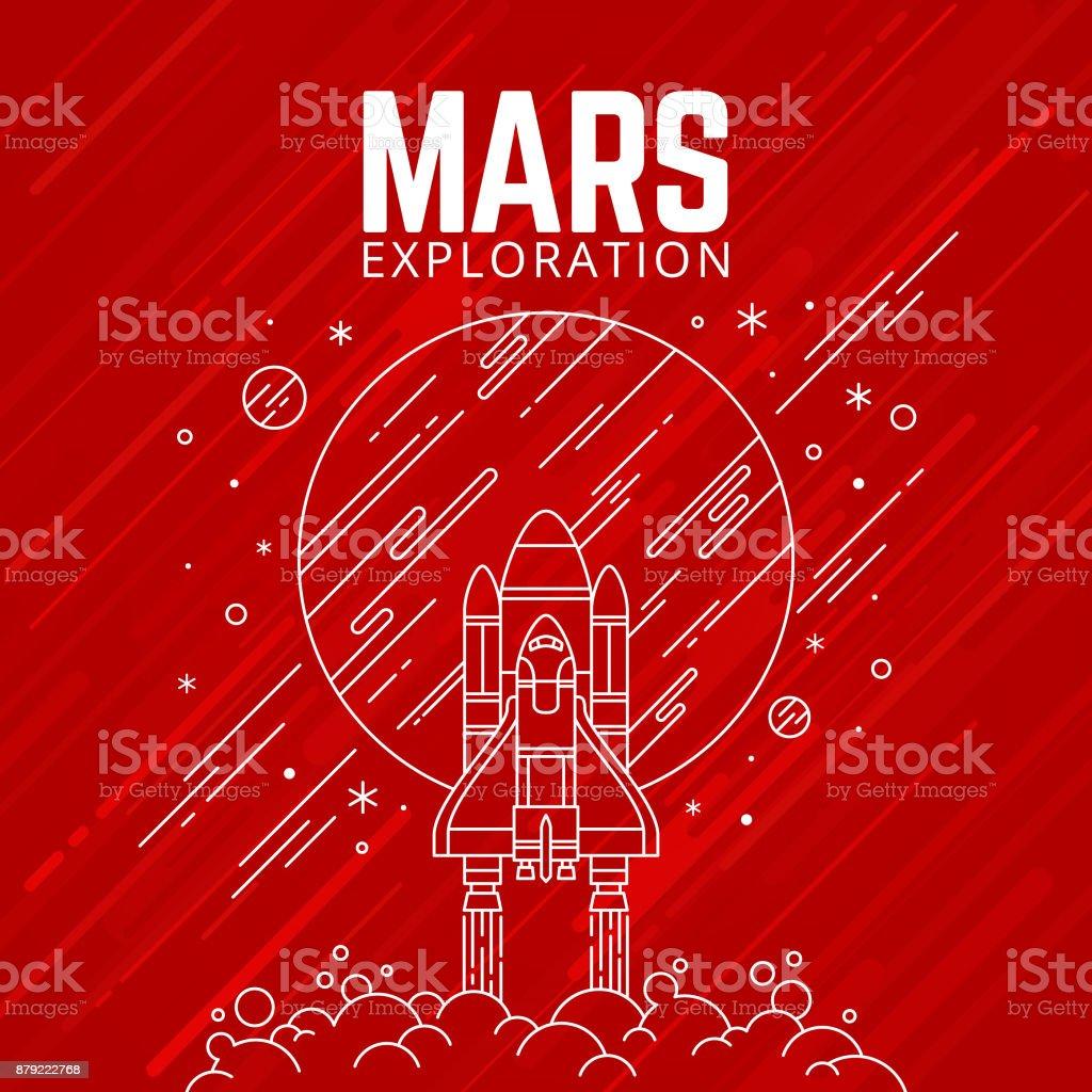 EXPLORACIÓN DE MARTE ilustración de exploraciÓn de marte y más banco de imágenes de cuadrado - composición libre de derechos