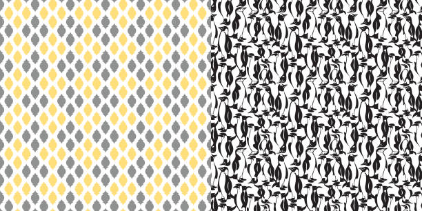 bildbanksillustrationer, clip art samt tecknat material och ikoner med pattern_set_allover_penguin_print_geometric_coordinated_pattern_black_gray_yellow_white - hui style