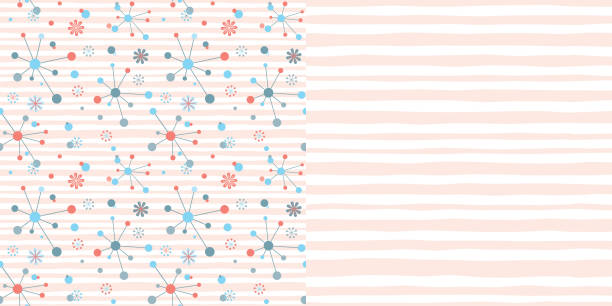 bildbanksillustrationer, clip art samt tecknat material och ikoner med pattern_set_retro_atomic_design_pink_stripe_coordinated_patterns_soft_stripe_background - hui style