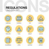 REGULATIONS LINE ICONS SET