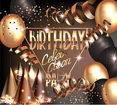 BIRTHDAY CELEBRATION PARTY INVITATION BANNER WITH GOLD DECO ELEMENTS AND PARTY OBJECTS. VECTOR ILLUSTRATION