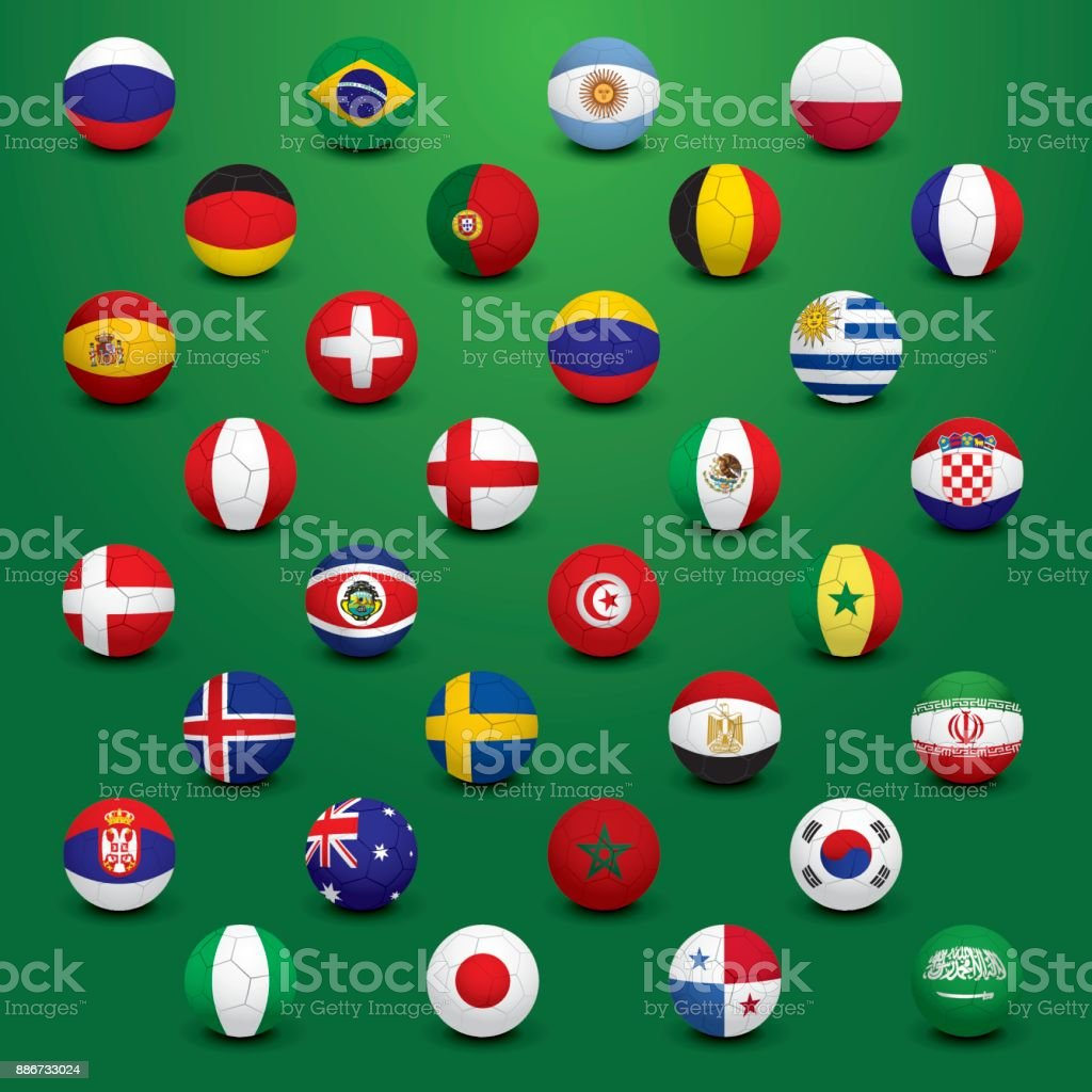 SOCCER FLAGS vector art illustration