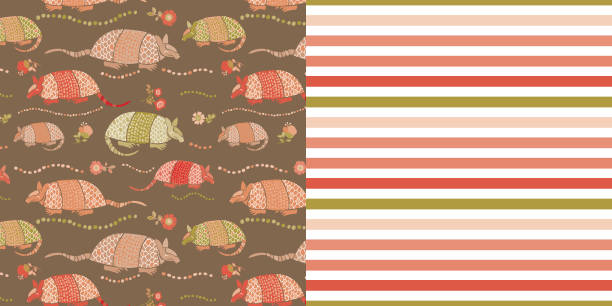 bildbanksillustrationer, clip art samt tecknat material och ikoner med pattern_set_seamless_armadillo_floral_allover_print_coordinated_stripe_pattern_brown_background - hui style