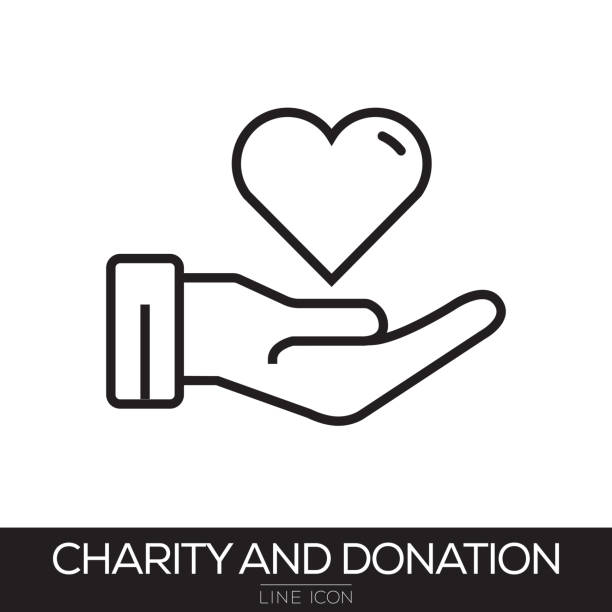 CHARITY AND DONATION LINE ICON CHARITY AND DONATION LINE ICON relief emotion stock illustrations