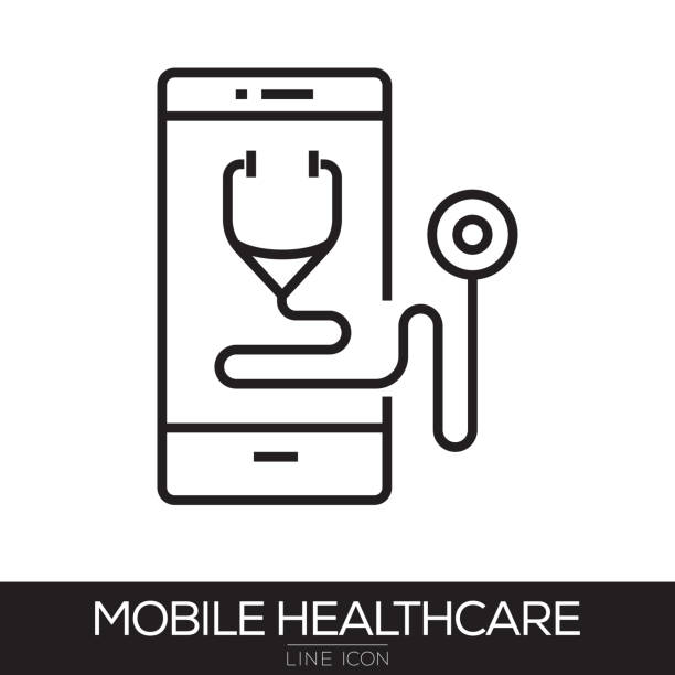 MOBILE HEALTHCARE LINE ICON vector art illustration