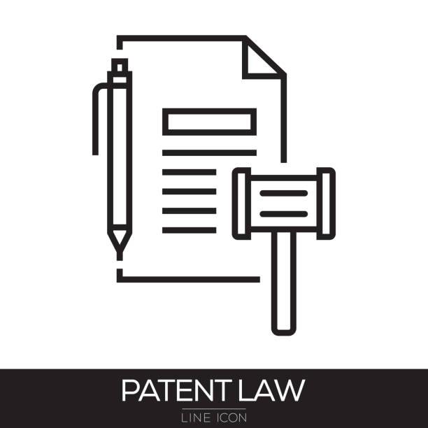 illustrations, cliparts, dessins animés et icônes de loi sur les brevets ligne icône - notaire