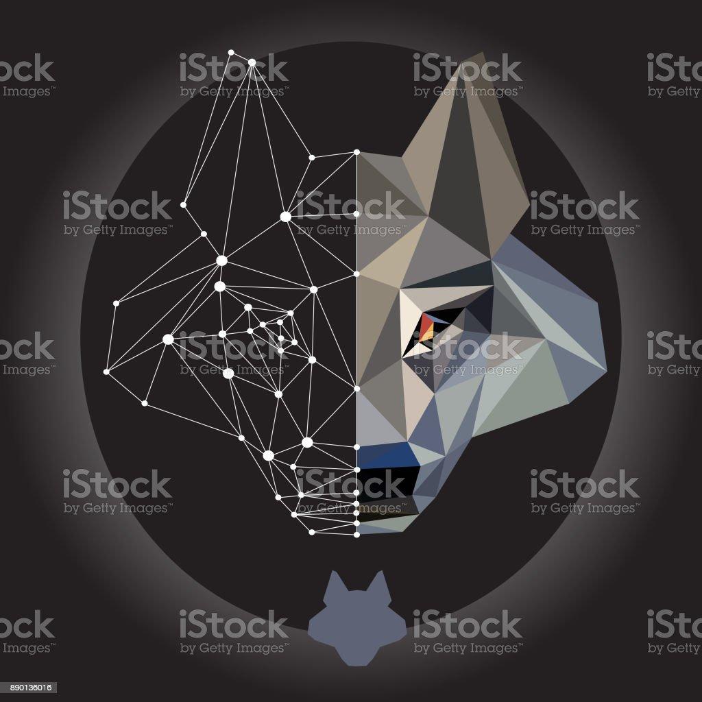 вовк голова ізольована vector art illustration