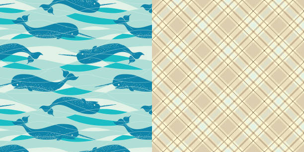 bildbanksillustrationer, clip art samt tecknat material och ikoner med pattern_set_seamless_narwhal_allover_print_turquoise_background_coordinated_plaid_pattern - hui style