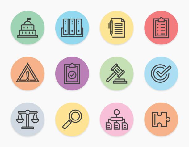 illustrazioni stock, clip art, cartoni animati e icone di tendenza di compliance line icons set - uniforme