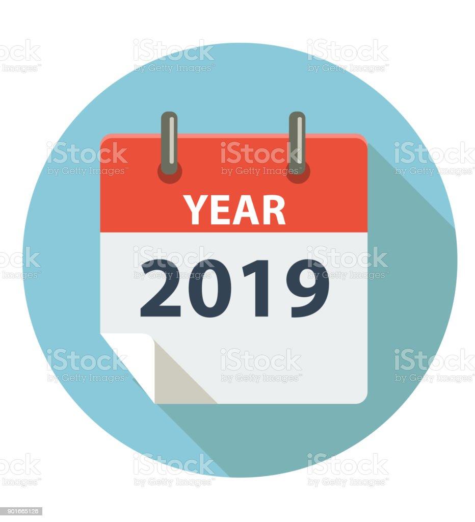 YEAR 2019 vector art illustration