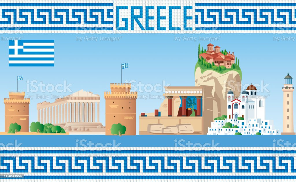 GREECE SKYLINE vector art illustration