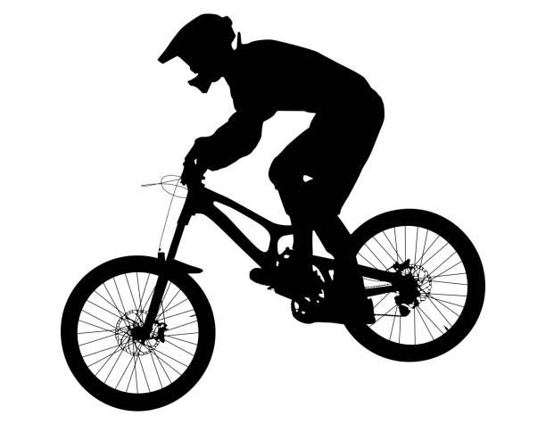 A11V6655 athlete rider on bike mountain biking black silhouette mountain biking stock illustrations