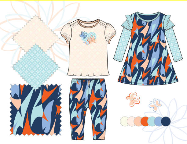 bildbanksillustrationer, clip art samt tecknat material och ikoner med baby_toddler_girl_butterfly_top_leggings_dress_outfit_illustration_abstract_geometric_patterns_pastel_peach_blue - hui style