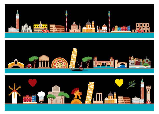 illustrazioni stock, clip art, cartoni animati e icone di tendenza di italy skyline - palermo città