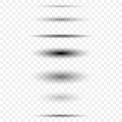 Circle shadow set isoalated on back. Vector