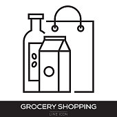 GROCERY SHOPPING LINE ICON