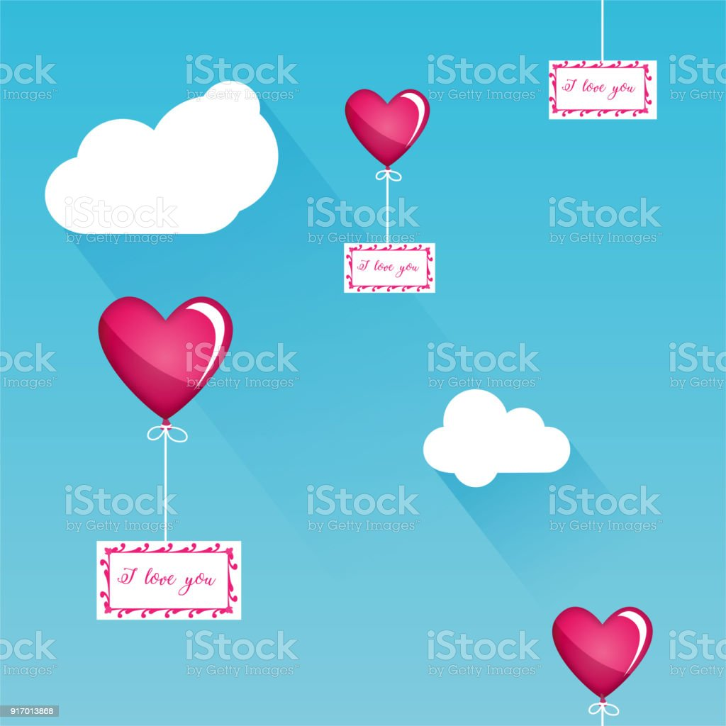 Balloon Fly With Message In Sky Love Seamless Vector Pattern Heart