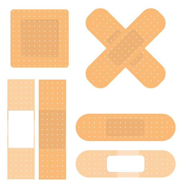 Печать Vector medical plaster isolated on chess back adhesive bandage stock illustrations