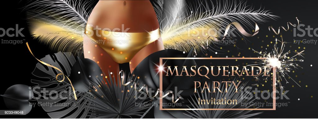 masquerade party invitation card with tropical leaves young woman in golden panty vector illustration