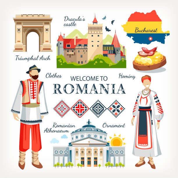 Печать Romania collection of traditional objects symbols of country architecture food clothes romania stock illustrations