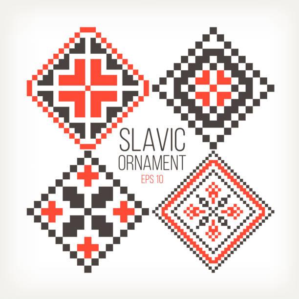Печать Slavic ornaments four different variations red black romania stock illustrations