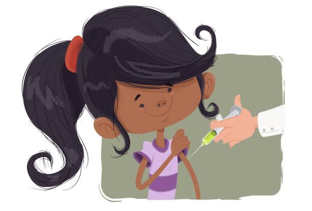 VACINA INFANTIL (MENINA) Menina sendo vacinada flu shot stock illustrations